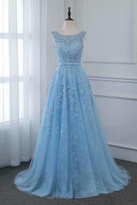 Sexy Blue Backless Evening Dress Pageant Dresses Sheer Neck Fashion Lace Applique Evening Gowns Prom Gowns