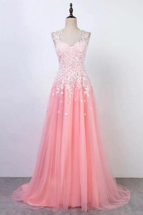 Pink Long Prom Dresses Lace Applique Sleeveless Formal Gown A Line 2019