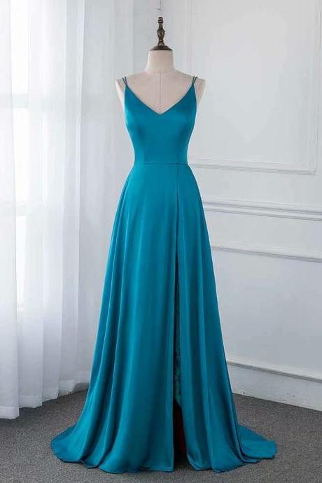 Blue Long Evening Dress 2019 V Neck Satin Sleeveless Side Split Evening Gown Dresses A line