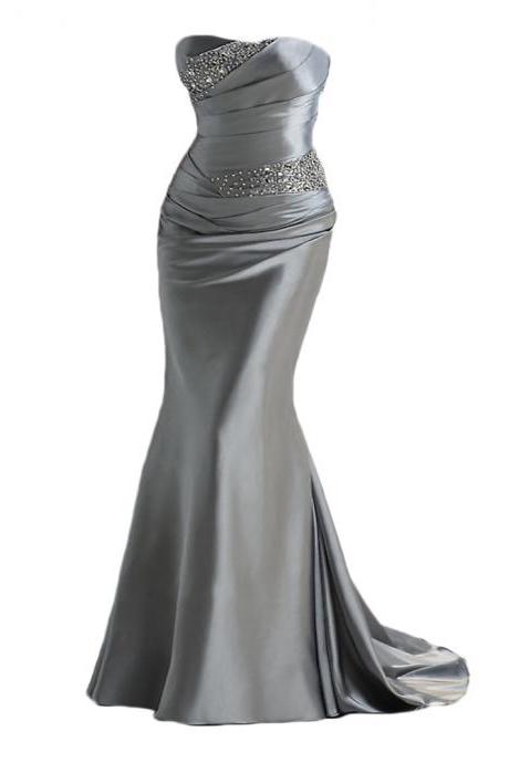 2019 silver gray prom dresses,Long satin prom dresses,,mermaid evening dresses ,long prom dresses,dresses party evening,sexy evening gowns,formal dresses evening,celebrity red carpet dresses