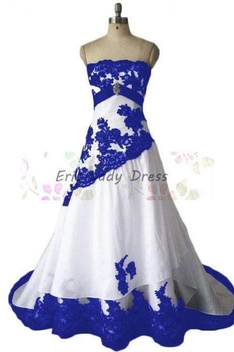 Custom Made Porcelain Inspired White Strapless Wedding Gown with Blue Lace Applique