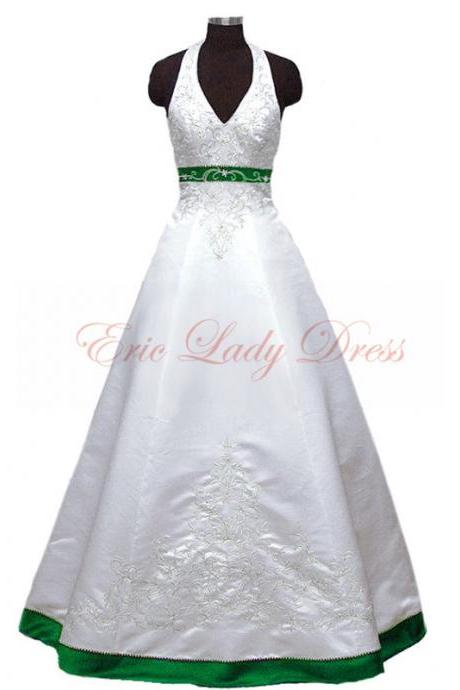 2015 Wedding Dresses,Halter White And Green Embroidery Wedding Dresses, 2015 Satin Wedding Dresses,Plus Size Wedding Dresses,Wedding Gowns,Bridal Gowns
