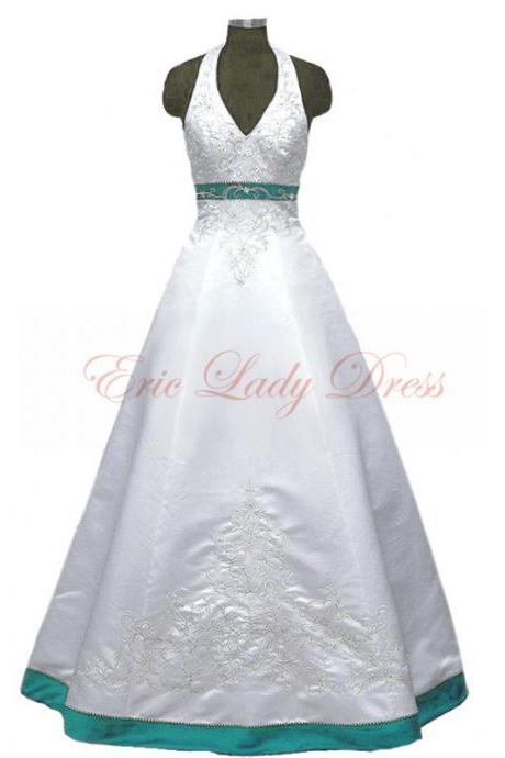 2015 Wedding Dresses,Halter White And Turquoise Embroidery Wedding Dresses, 2015 Satin Wedding Dresses,Plus Size Wedding Dresses,Wedding Gowns,Bridal Gowns