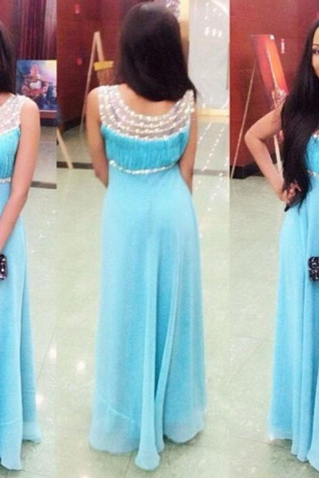 Prom Dress,Blue Prom Dress,Beaded Prom Dresses,Custom Made Prom Dress, Chiffon Prom Dresses, Sexy Prom Dress, Long Prom Dresses,2015 Prom Dresses