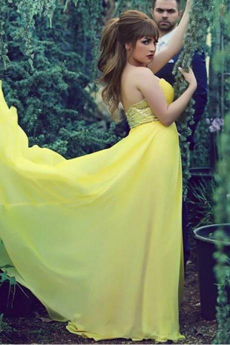 Prom Dress,Yellow Prom Dress,Beaded Prom Dresses,Long Elegant Prom Dresses Custom Made Prom Dress, Chiffon Prom Dresses, Sexy Prom Dress, Long Prom Dresses,2015 Prom Dresses