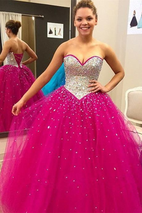 Prom Dress,Fuschia Prom Dress,Sweet 16 Dresses,Ball Gown,Beaded Prom Dresses,Long Elegant Prom Dresses Custom Made Prom Dress, Chiffon Prom Dresses, Sexy Prom Dress, Long Prom Dresses,2015 Prom Dresses