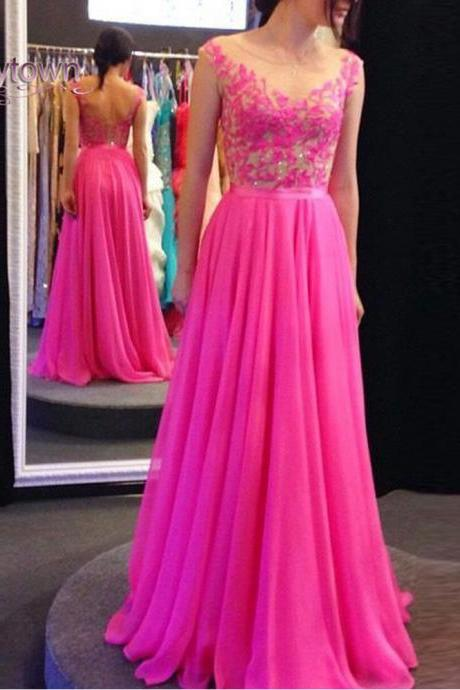 Prom Dress, Hot Pink Prom Dress,Chiffon Prom Dresses,Long Elegant Prom Dresses,Custom Made Prom Dress, Open Back Prom Dresses, Sexy Prom Dress, Long Prom Dresses,2015 Prom Dresses
