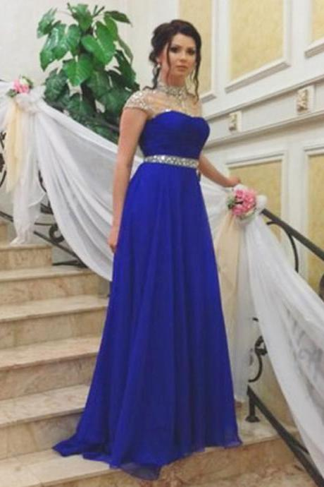 Evening Dress,Long Elegant Evening Dress,Royal Blue Evening Dresses,Evening Dresses,High Neck Prom Dresses, Long Evening Dress, Party Dress