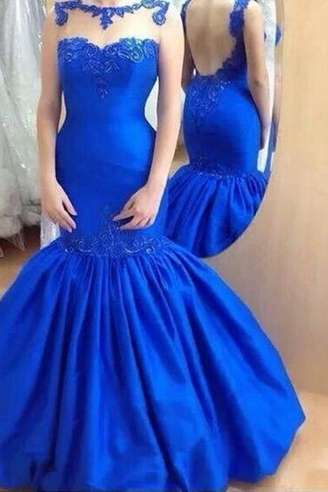 Evening Dress,Mermaid Evening Dress,Blue Evening Dresses,Sexy Backless Evening Dresses,Long Elegant Prom Dresses, Formal Evening Gowns, Party Dress