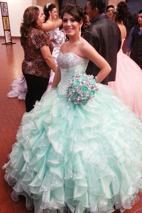 Evening Dress,Quinceanera Dresses,Ball Gown Evening Dresses,Sweet 16 Dresses,Elegant Ruffles Prom Dresses, Formal Evening Gowns, Party Dresses