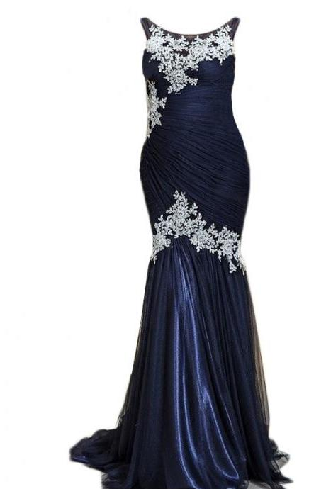 Evening Dress,Long Tulle Evening Dress,Navy Blue Evening Dresses,Lace Appliques Evening Dresses,Mermaid Prom Dresses, Formal Evening Gowns, Party Dress