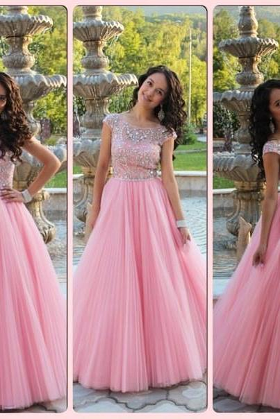 Evening Dress,Long Elegant Evening Dress,Pink Evening Dresses,A Line Prom Dresses, Formal Evening Gowns,Party Dress