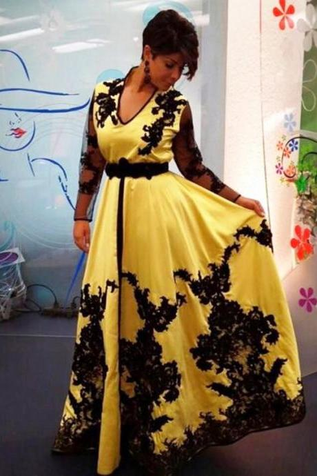 Yellow Long Sleeve Evening Dresses With Appliques V Neck Prom Formal Gowns Floor Length robe de soiree Party Dress