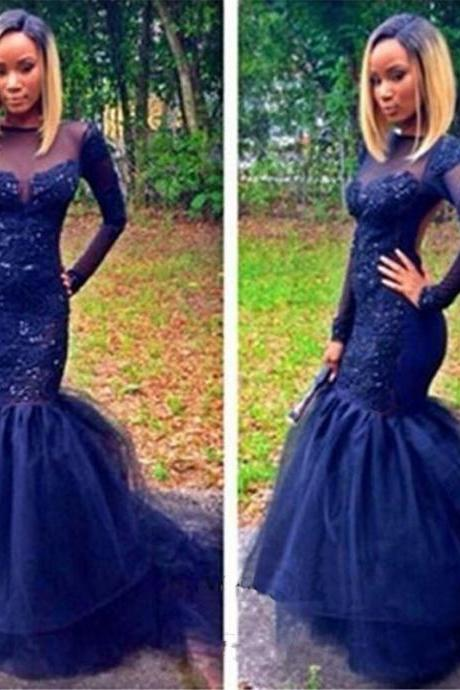 Hot Selling Mermaid Dark Blue Evening Dresses With Full Sleeve Boat Neck Long Elegant Prom Dress Robe De Soiree Formal Gowns