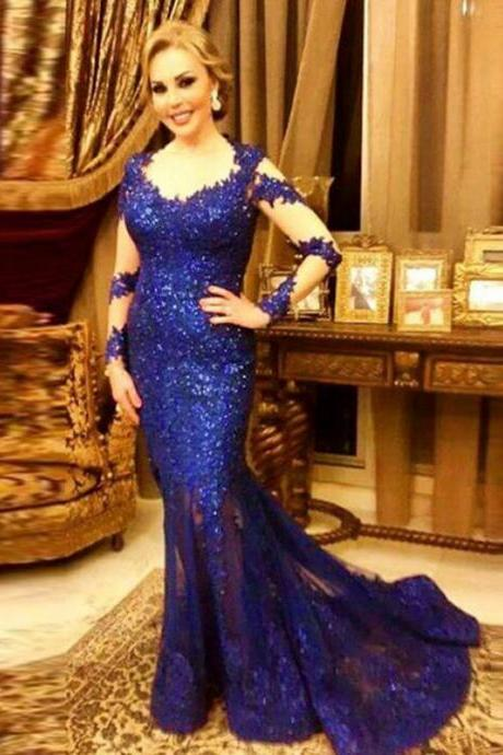 Hot Selling Mermaid Blue Evening Dresses With Full Sleeve Sequined V Neck Long Elegant Prom Dress Robe De Soiree Formal Gowns