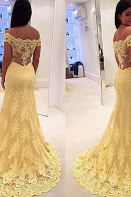 2016 Lace Yellow Evening Dresses Off The Shoulder Open Back Yellow Prom Party Dress Robe De Soiree Formal Gowns