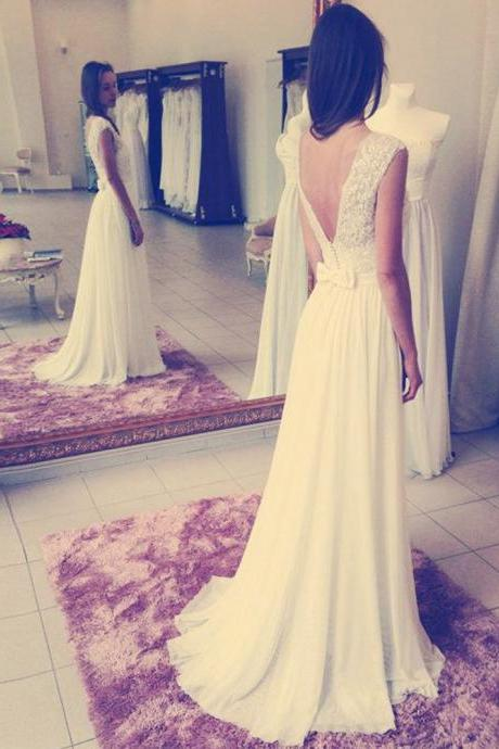Sexy Open Back White Chiffon Bridesmaid Dress,Floor Length A Line Backless Bridesmaid Dresses,Sexy Long Cheap Prom Dresses Party Evening Gown