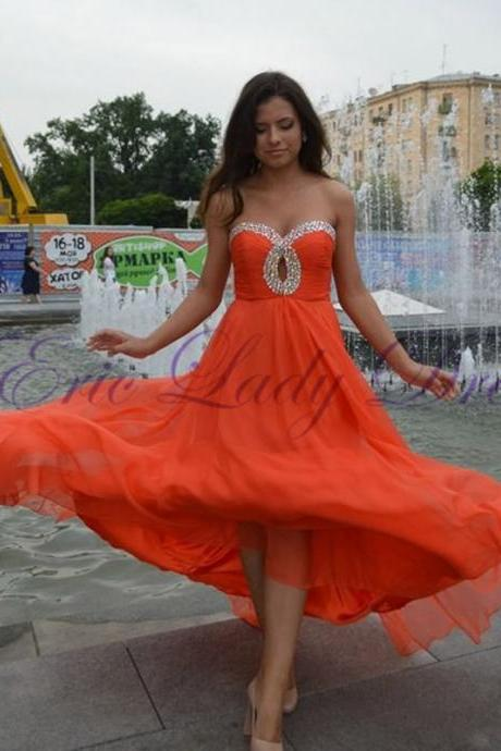 Orange Beaded Chiffon Bridesmaid Dress,Floor Length Sweetheart A Line Bridesmaid Dresses, Long Elegant Prom Dresses Party Evening Gown
