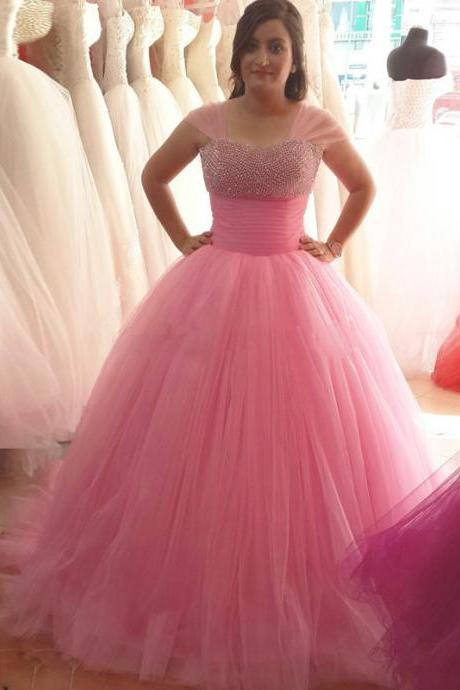 Pink Sweetheart Wedding Bridal Dresses,Long Elegant Tulle Bridesmaid Dresses, Sexy Cap Sleeve Beaded Women Prom Dresses ,Long Elegant Formal Dresses Party Evening Gown