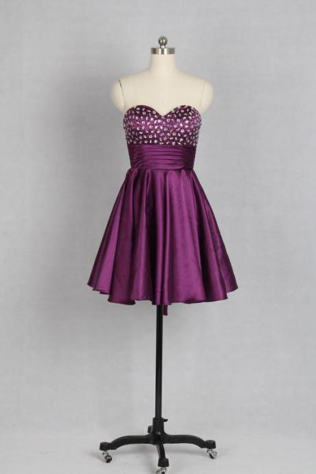 Purple Short Satin A-Line Homecoming Dress Featuring Beaded Embellished Sweetheart Bodice, Ruched Belt and Lace-Up Back