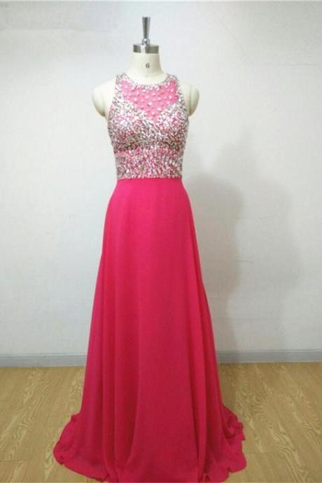 2016 Hot Pink Luxury Crystal Prom Dress Real Photo Chiffon O Neck Evening Dresses Robe De Soiree Formal Gowns