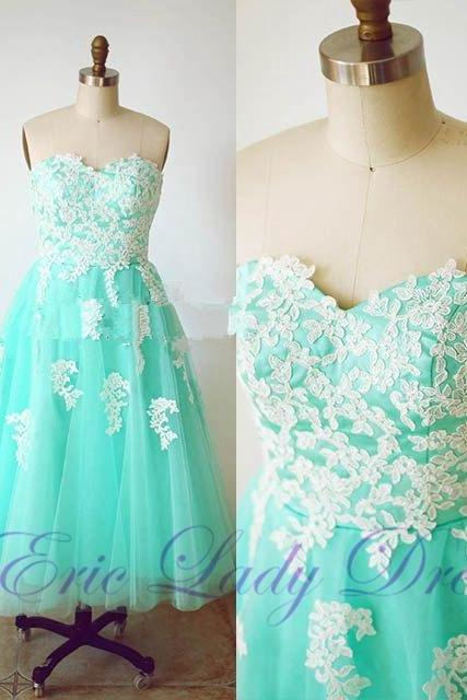 2016 Tea length Evening Dresses Sweetheart Lace Appliques Prom Dresses Real Photo Beaded Homecoming Cocktail Graduation Dresses Robe De Soiree Formal Gowns