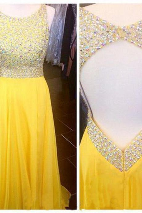 Sexy Chiffon Floor Length Strapless Scoop Yellow Open Back Prom Dress , Party Dresses, Graduation Dresses, Evening Dresses, Long Prom Dress 2016