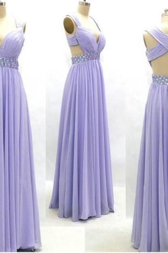 Sexy Chiffon Floor Length Strapless v neck lavender cross Back Prom Dress , Party Dresses, Graduation Dresses, Evening Dresses, Long Prom Dress 2016
