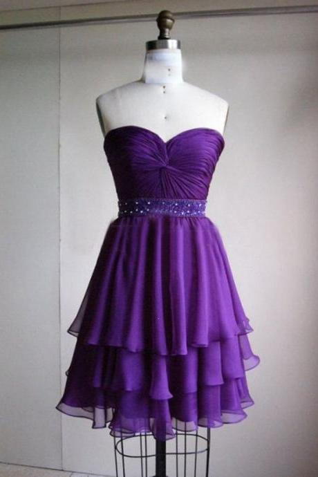 Sweety Mini Sweetheart Purple Chiffon Evening Dress , Graduation Dresses 2016,Party Dresses,Evening Dresses, Short Prom Dress 2016
