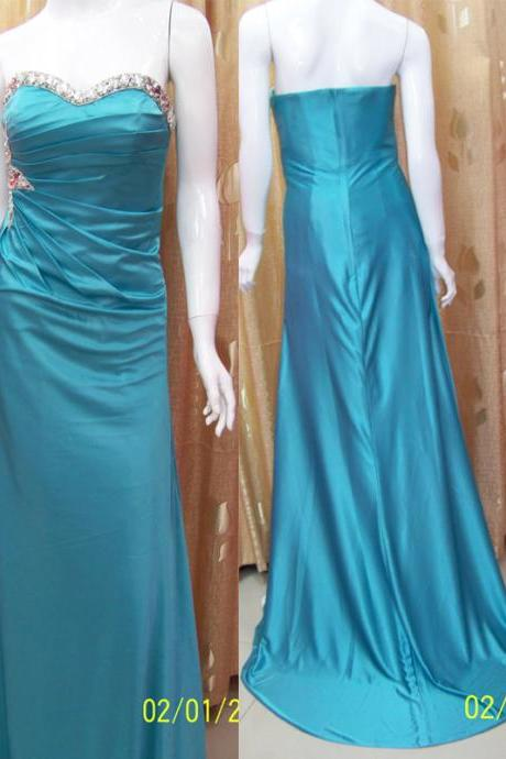 Strapless Blue Bridesmaid Dress,Floor Length Sheath Blue Bridesmaid Dresses,Elegant Long Cheap Prom Dresses Party Evening Gown