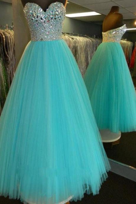 Prom Dress,Blue Prom Dress,Long Crystal Tulle Prom Dresses,Custom Made Prom Dresses,Luxury Prom Dress, Elegant Prom Dress, Long Prom Dresses,2016 Prom Dresses