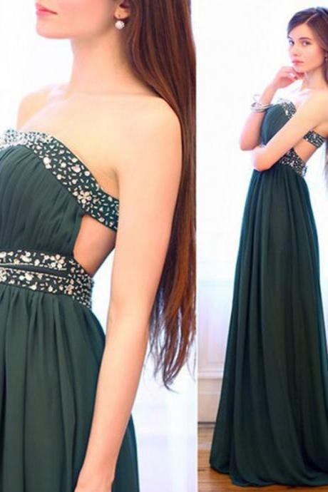 Prom Dress,Dark Green Prom Dress,Long Elegant Prom dresses,Custom Made Prom Dress, Beaded Chiffon Prom Dresses, Sexy Prom Dress, Floor Length Prom Dresses,2016 Prom Dresses