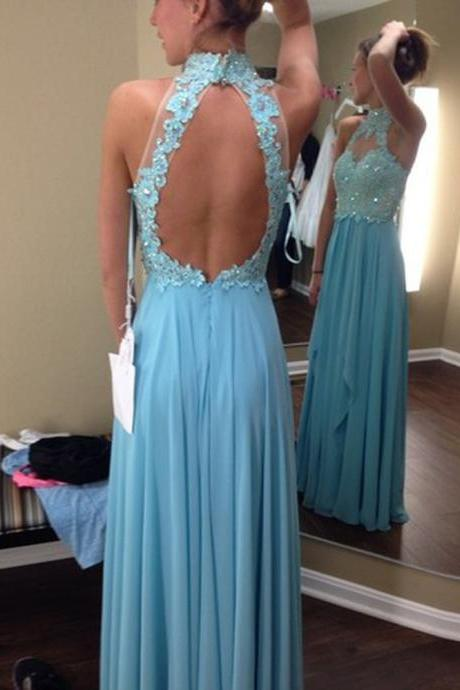 Prom Dress,Blue Prom Dress,Long Elegant Prom dresses,Custom Made Prom Dress, Chiffon Prom Dresses, Backless Prom Dress, Floor Length Prom Dresses,2016 Prom Dresses
