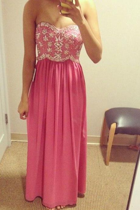 Prom Dress,Pink Prom Dress,Strapless Prom dresses,Custom Made Prom Dress, Sexy Chiffon Prom Dresses, Long Elegant Prom Dress, Floor Length Prom Dresses,2016 Prom Dresses