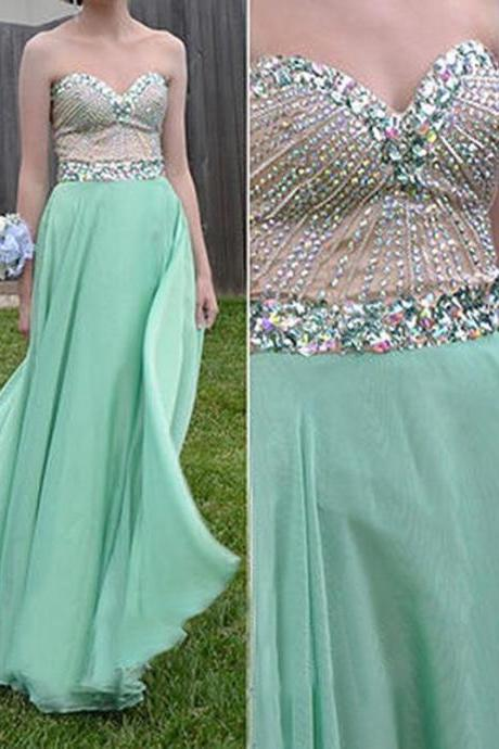 2016 Sage Green Chiffon Evening Dresses Sexy Long Elegant Prom Dress Robe De Soiree Formal Gowns