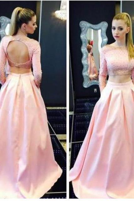 2 Piece Prom Dress Pink Backless Evening Dresses Sexy Long Elegant Prom Dresses Robe De Soiree Formal Gowns