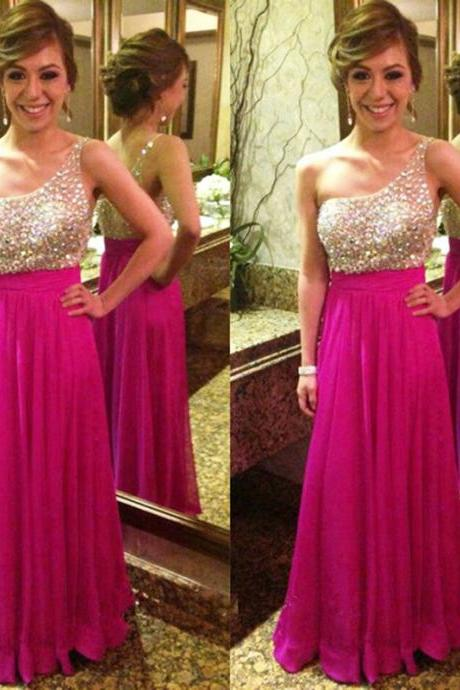 2016 Fuschia Evening Dresses One Shoulder Chiffon Party Dress Robe De Soiree Formal Gowns