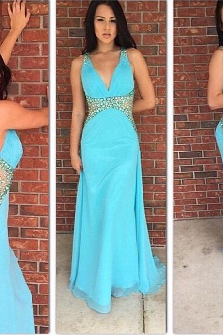 Prom Dress,Prom Dresses, 2016 Blue Prom Dresses V Neck Chiffon Party Dress Robe De Soiree Formal Gowns