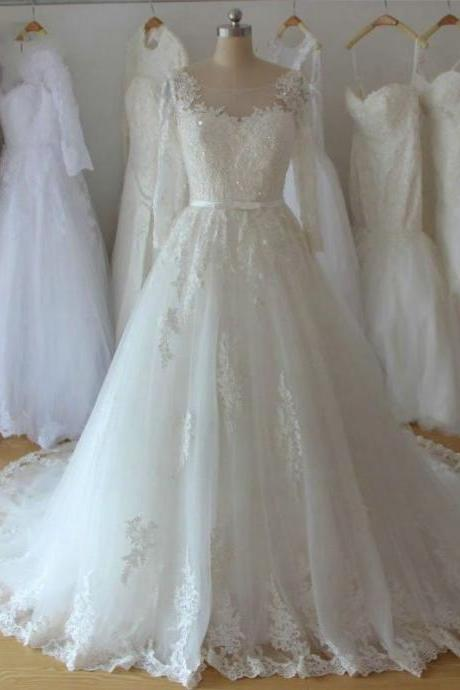 Wedding Dress, Wedding Dresses,2016 Ball Gown Wedding Dresses, White Sheer Neck Chapel Train Tulle Wedding Dresses,Custom Made Wedding Dresses