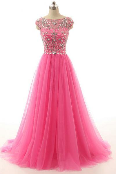 Prom Dress,Pink Prom Dress,Sheer Neck Prom dresses,Beaded Crystal Prom Dresses,Custom Made Prom Dress, Chiffon Prom Dresses, Sexy Prom Dress, Long Prom Dresses,2016 Prom Dresses,Prom Dresses
