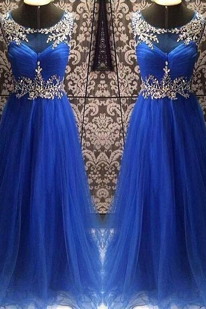 Prom Dress,Sexy Sheer Neck Prom Dress,Royal Blue Prom dresses,Custom Made Prom Dress, Chiffon Prom Dresses,Long Elegant Prom Dresses,2016 Prom Dresses,Prom Dresses