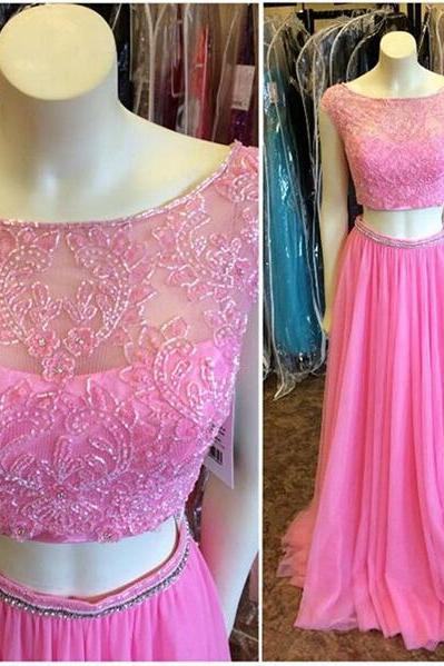2016 Pink 2 Piece Evening Dresses Sexy Chiffon Long Elegant Prom Dress Robe De Soiree Formal Gowns Custom Made