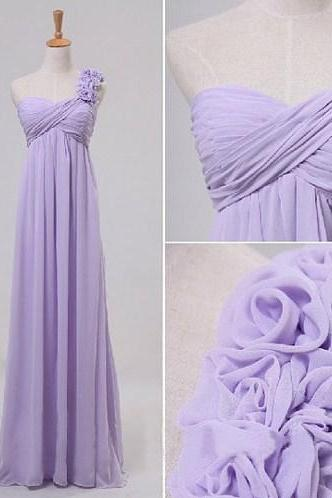 2016 Lavender Evening Dresses Sexy Chiffon Long Elegant One Shoulder Prom Dress Robe De Soiree Formal Gowns Custom Made