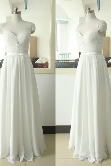 Prom Dress,Cap Sleeve Prom Dress,White Prom dresses,Custom Made Prom Dress, Vintage Prom Dress, Long Prom Dresses,2016 Prom Dresses