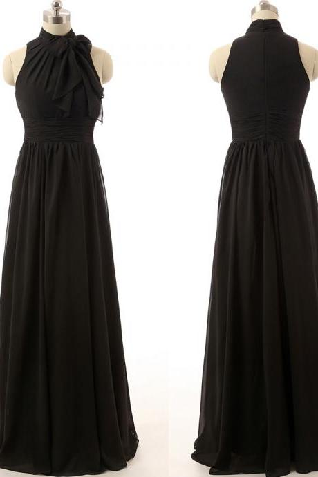 Prom Dress,Halter Chiffon Prom Dress,Black Prom dresses,Custom Made Prom Dress, Vintage Prom Dress, Long Prom Dresses,2016 Prom Dresses