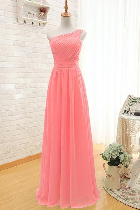 Prom Dress,One Shoulder Prom Dress,Pink Prom dresses,Custom Made Prom Dress, Vintage Prom Dress,Long Prom Dresses,2016 Prom Dresses