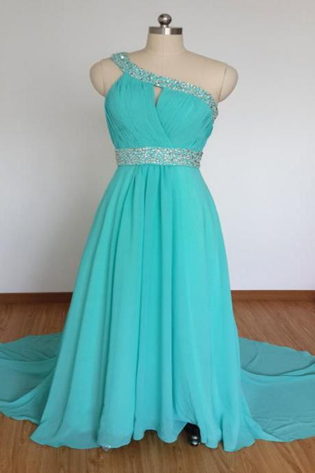 2016 Chiffon prom dresses,turquoise prom dresses,One shoulder evening dresses, evening dresses 2016,long prom dresses,dresses party evening,sexy evening gowns,formal dresses evening,celebrity red carpet dresses
