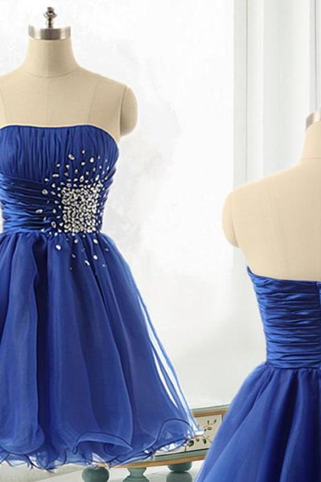 Prom Dresses ,Short Royal Blue Organza Strapless Prom Dresses,Short Prom dresses,Custom Made Prom Dress, Sexy Prom Dress, 2016 Prom Dresses,Homecoming Dresses, Graduation Dresses