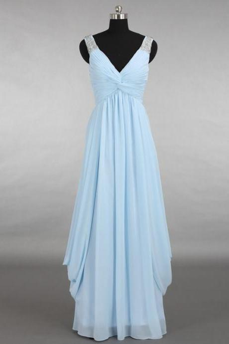 2016 Chiffon prom dresses,Light Blue prom dresses,V Neck evening dresses, evening dresses 2016,long prom dresses,dresses party evening,sexy evening gowns,formal dresses evening,celebrity red carpet dresses