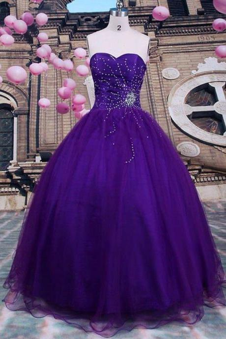 2019 Sexy Purple Beads Quinceanera Dresses Ball Gown For 15 Prom Party Dress Custom Prom Gowns Sweet 16 Dresses